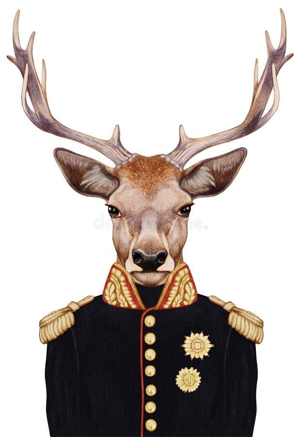 Retrato dos cervos no uniforme militar ilustração do vetor