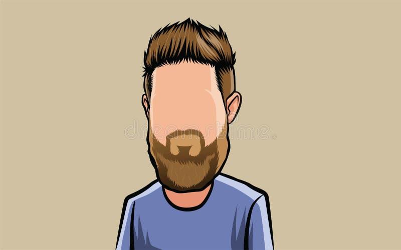 Retrato dos desenhos animados da caricatura, cabeça grande ilustração stock