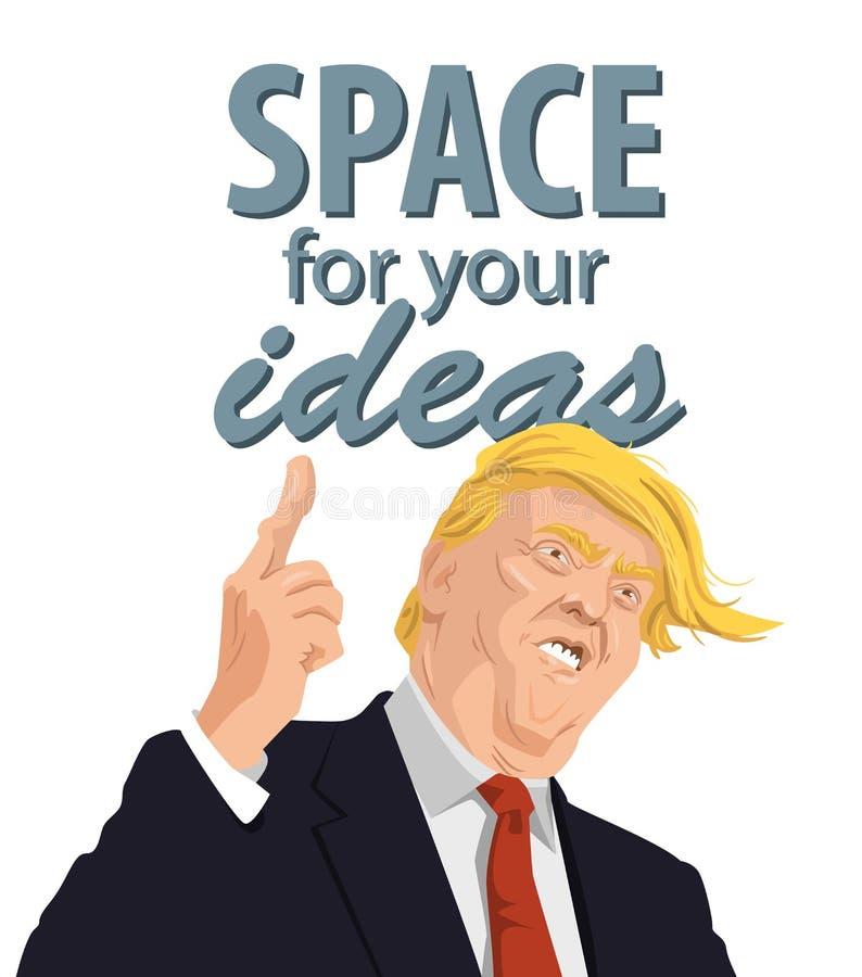 Retrato dos desenhos animados de Donald Trump Giving um discurso ilustração do vetor