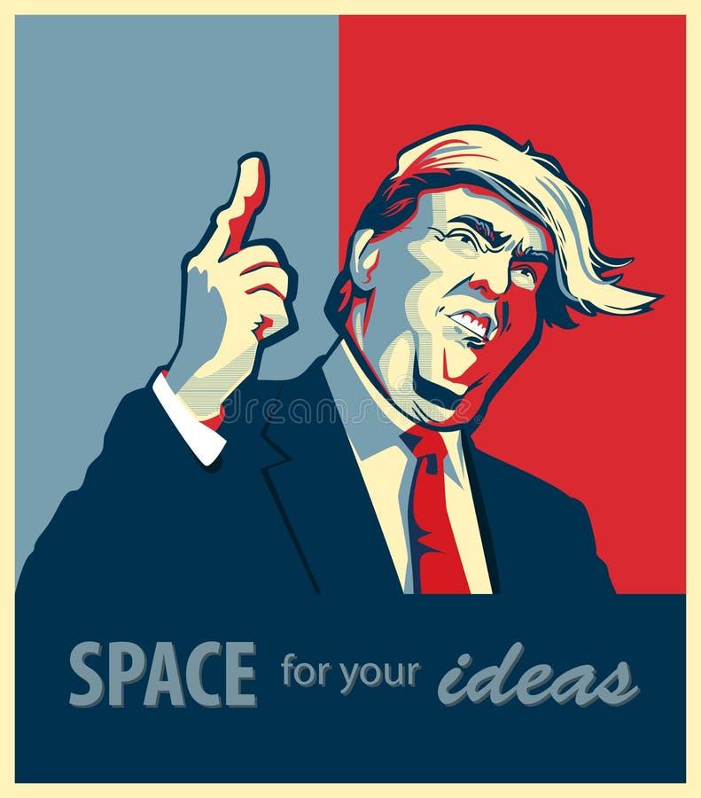 Retrato dos desenhos animados de Donald Trump Giving um discurso ilustração stock