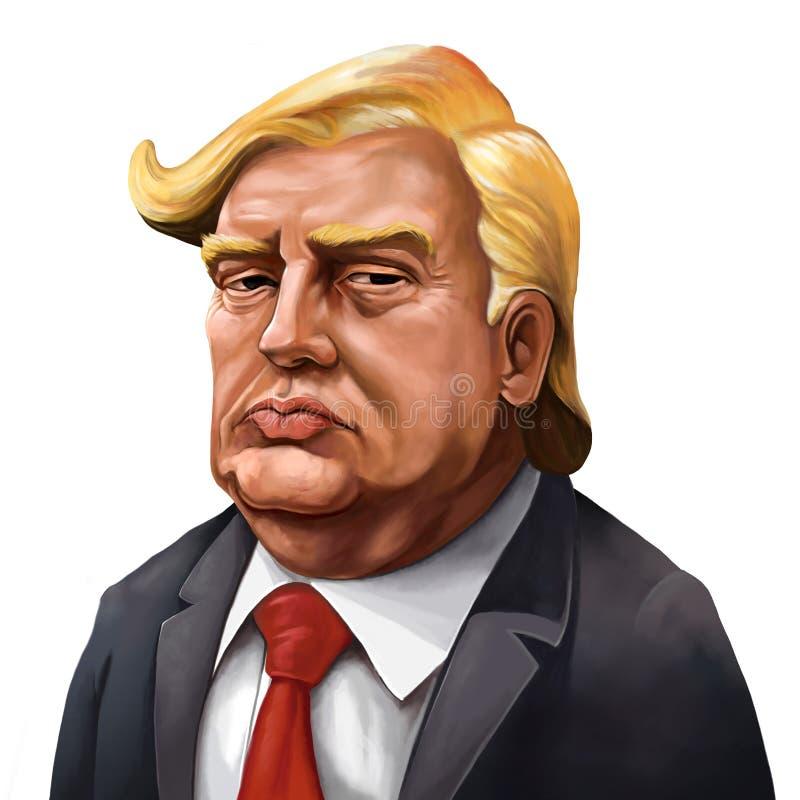 Retrato dos desenhos animados de Donald Trump - ilustrado por Erkan Atay ilustração stock