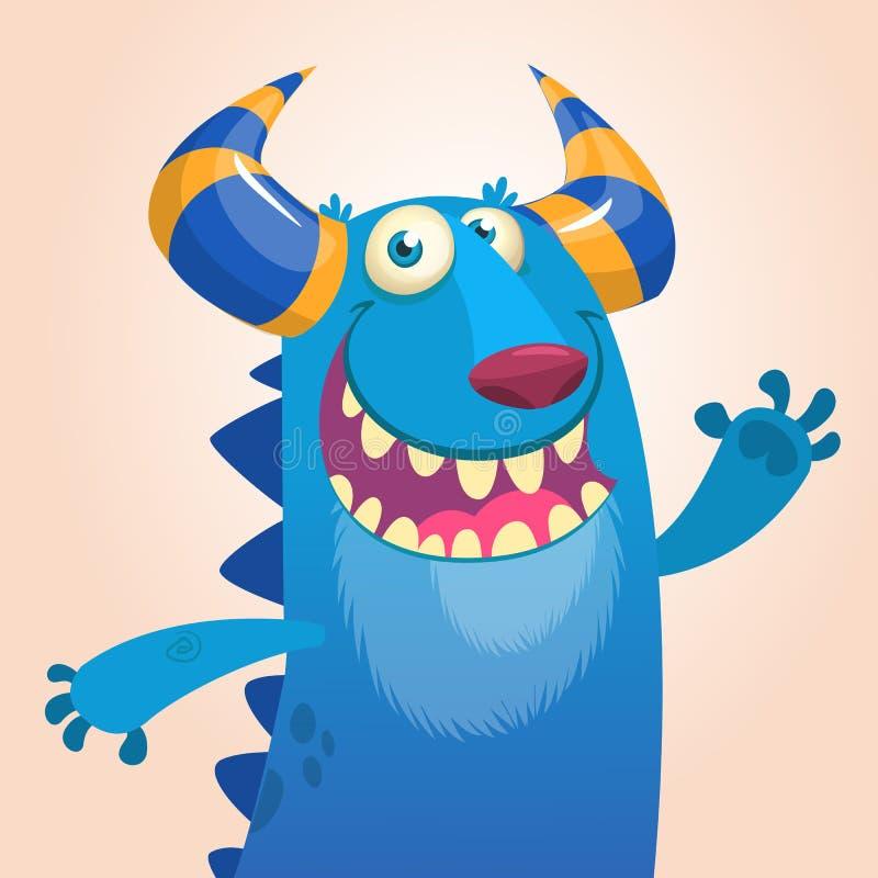 Retrato dos desenhos animados do dragão azul de sorriso do monstro ilustração stock