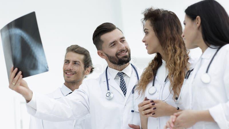 Retrato dos doutores masculinos novos que olham o raio X foto de stock
