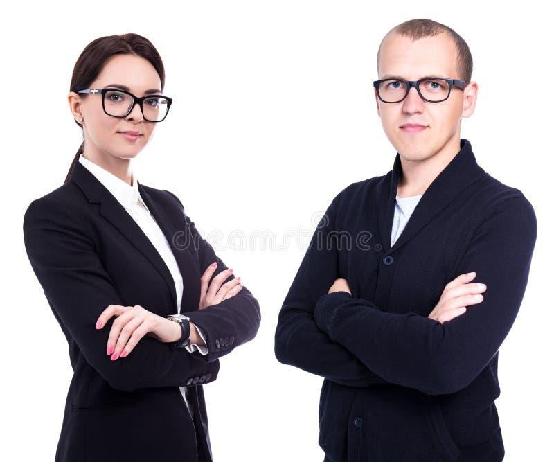 Retrato dos executivos bonitos novos isolados no branco foto de stock royalty free