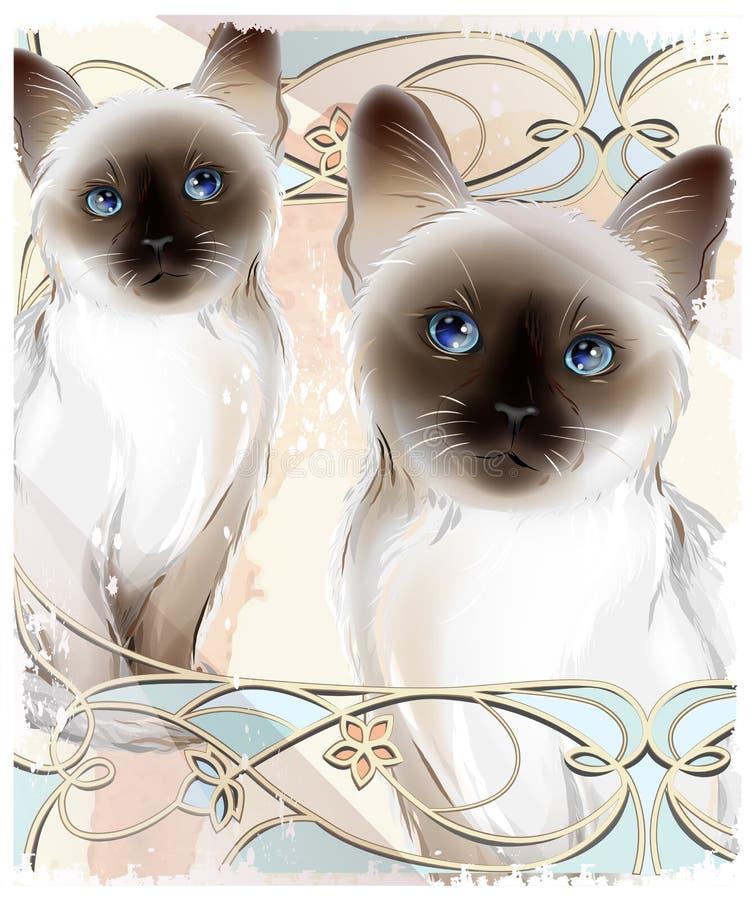 Retrato dos gatos tailandeses dos pares ilustração do vetor