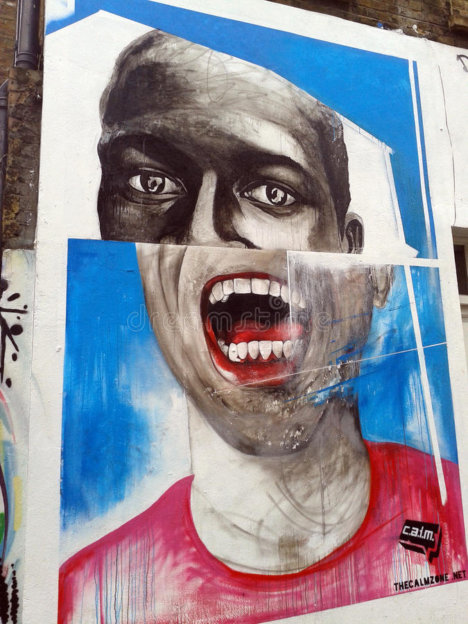 Retrato dos grafittis na rua de Londres fotos de stock