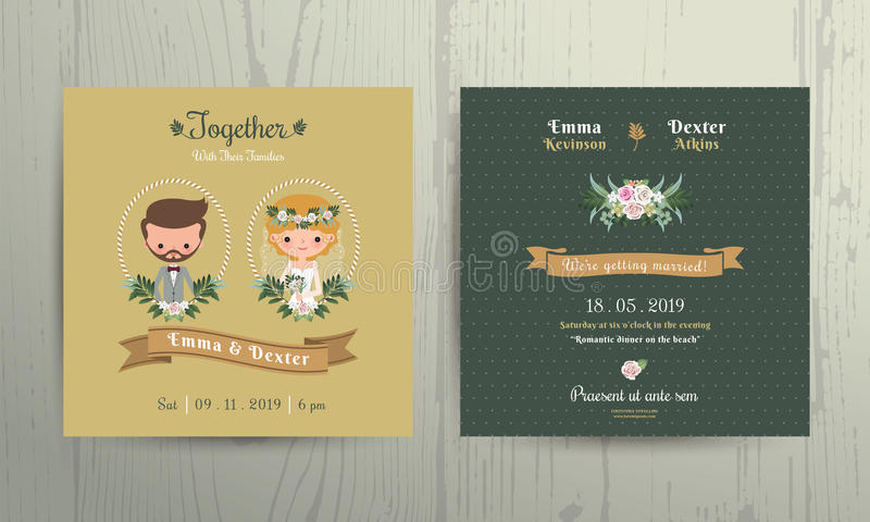 Retrato dos noivos dos desenhos animados do cartão do convite do casamento ilustração royalty free
