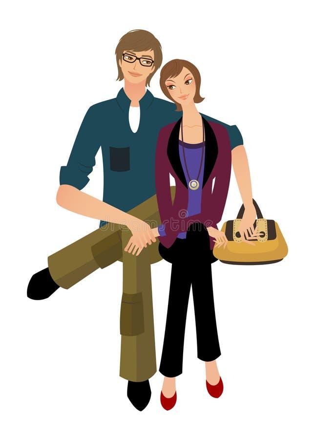 Retrato dos pares ilustração royalty free
