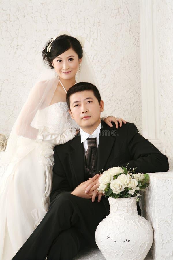 Retrato dos pares do casamento fotos de stock royalty free