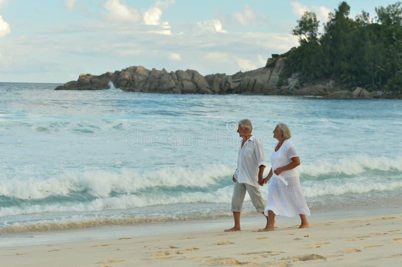 Retrato dos pares idosos que andam na praia tropical fotografia de stock