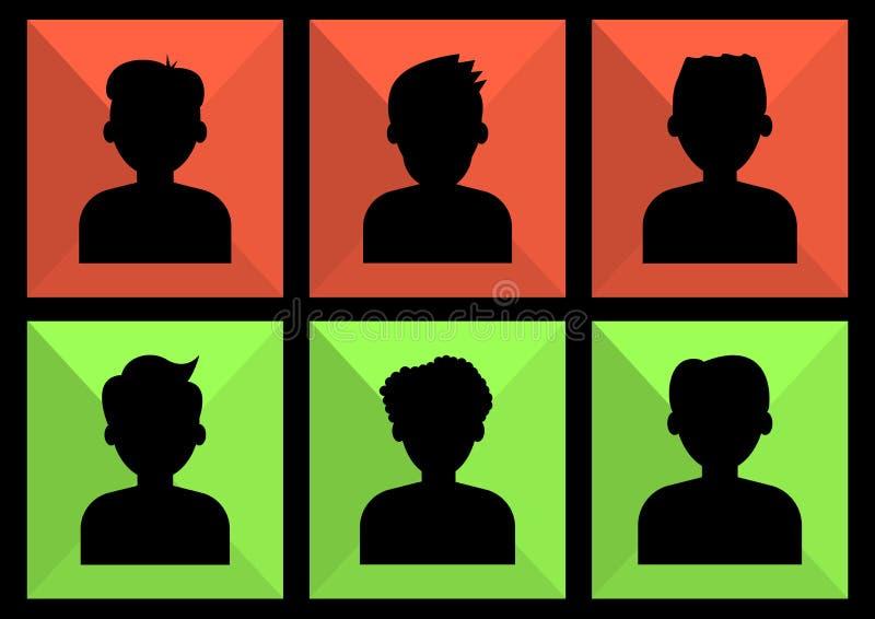 Retrato dos povos Ícone colorido da rede povos sociais Ajuste dos avatars dos homens, silhuetas anônimas, pretas Vetor ilustração stock