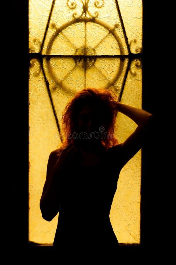 Retrato dramático de una mujer encantadora en la oscuridad Hembra soñadora imagenes de archivo