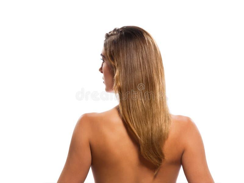 Retrato em topless da mulher do cabelo louro de vista traseira foto de stock