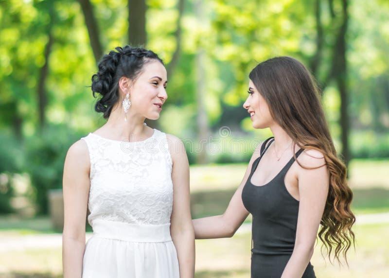 Retrato em um perfil de dois amigos bonitos novos das mulheres que falam no parque verde do verão Fêmeas bonitas noiva e sorriso  foto de stock royalty free