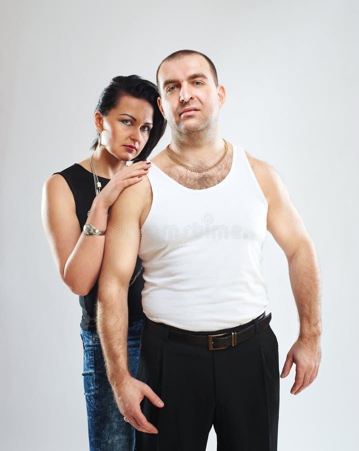 Retrato emocional de um casal imagens de stock royalty free