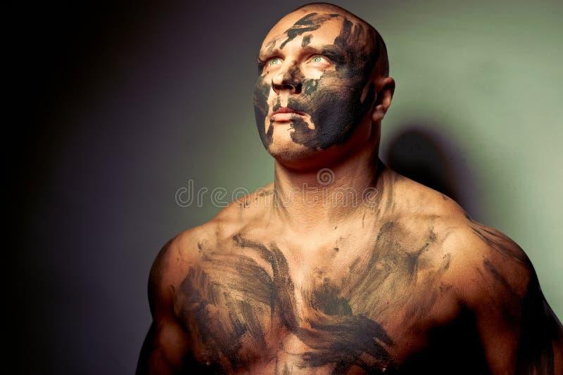 Retrato emocional do lutador fotos de stock