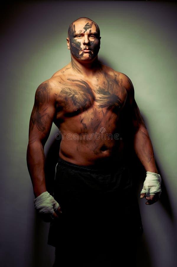 Retrato emocional do lutador imagens de stock royalty free