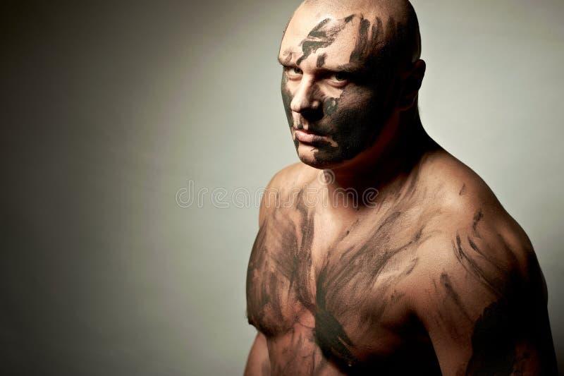 Retrato emocional do lutador foto de stock