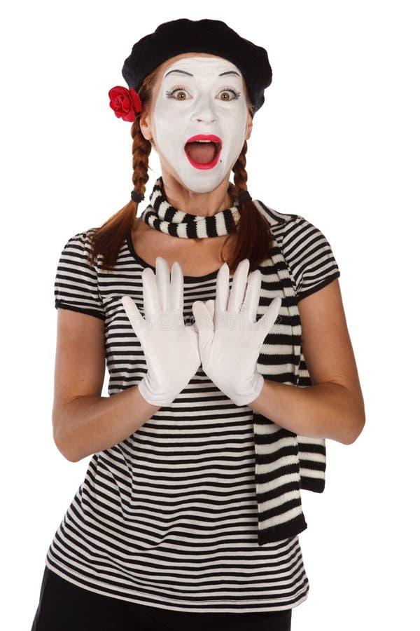 Retrato emocional do mime fotografia de stock