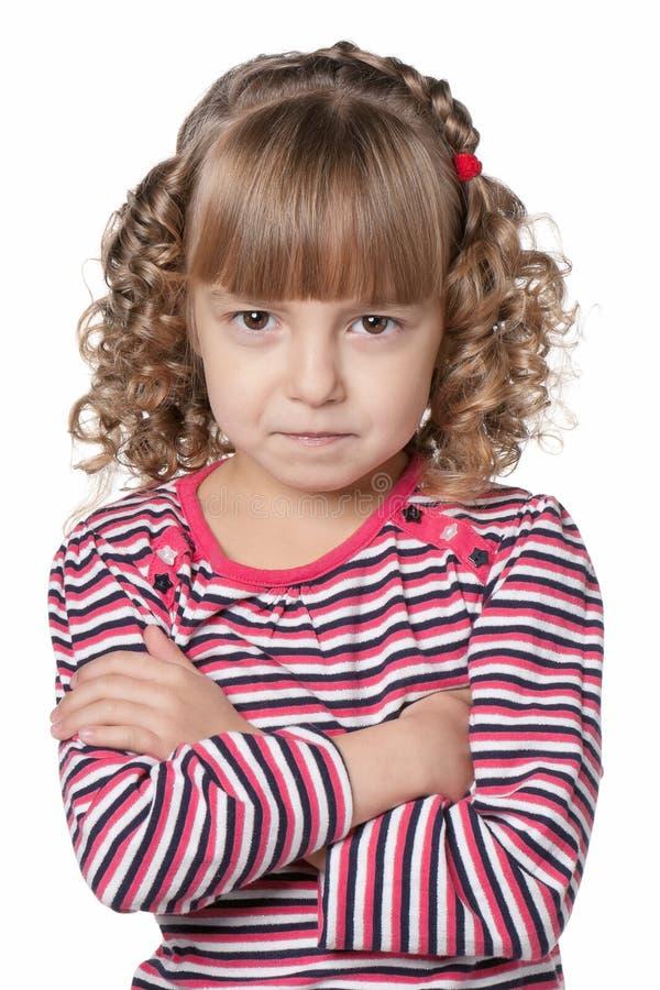 Retrato emocionalmente da menina fotografia de stock royalty free