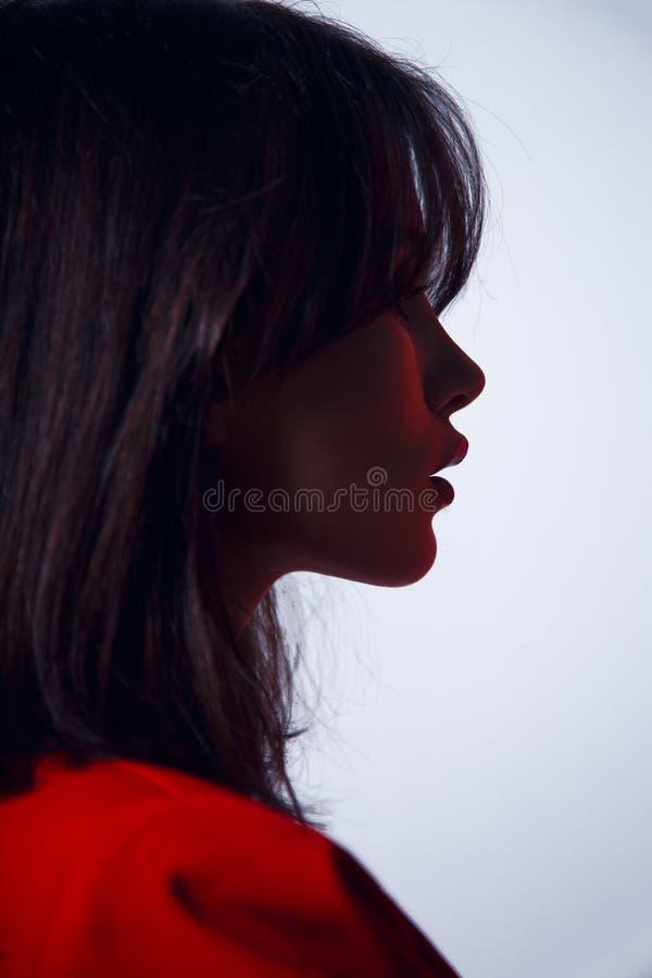Retrato en perfil un modelo moreno atractivo, con los labios grandes en traje rojo, peinado elegante, aislado en un fondo blanco foto de archivo libre de regalías
