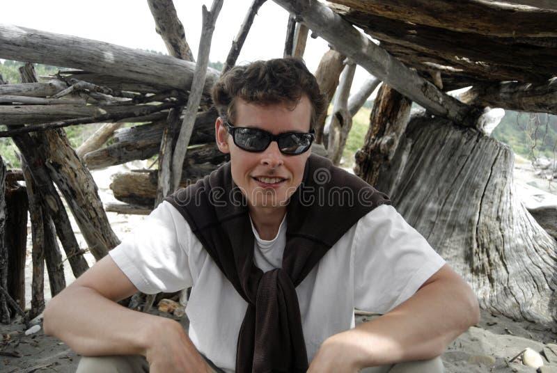 Retrato en un fuerte de la playa fotos de archivo