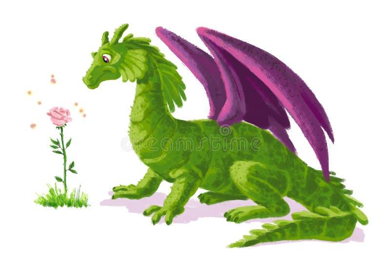 Retrato engraçado artístico tirado mão do dinossauro com a flor cor-de-rosa da mágica ilustração stock