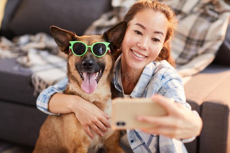 Retrato engraçado com cão foto de stock