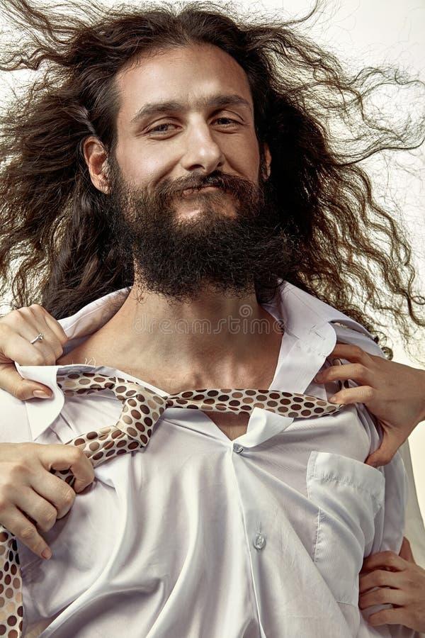 Retrato engraçado de um marido - tapeador fotografia de stock royalty free
