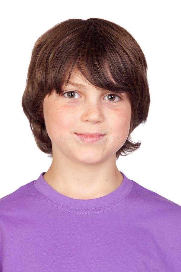 Retrato engraçado do menino freckled foto de stock royalty free
