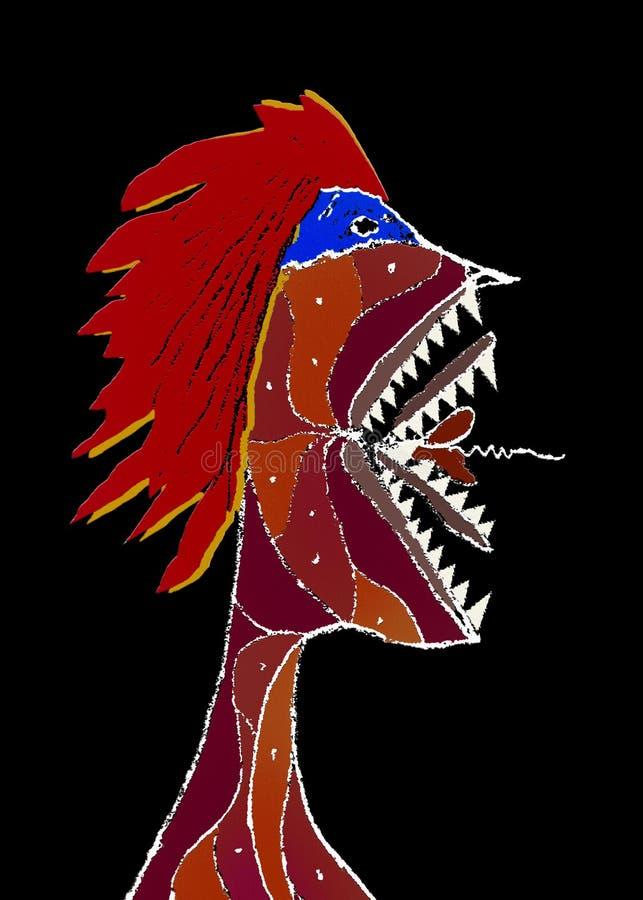 Retrato enojado de la vista lateral del monstruo ilustración del vector