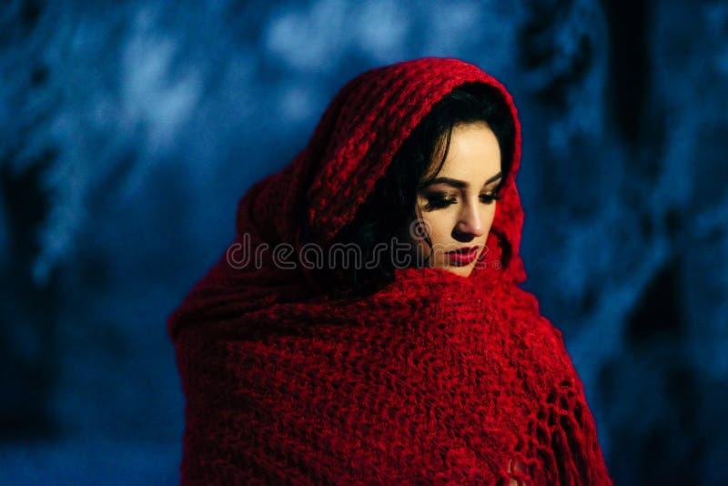 Retrato envuelto maquillaje rojo moreno de la tarde de la noche del invierno de la nieve de la bufanda del lápiz labial de la nov imagen de archivo