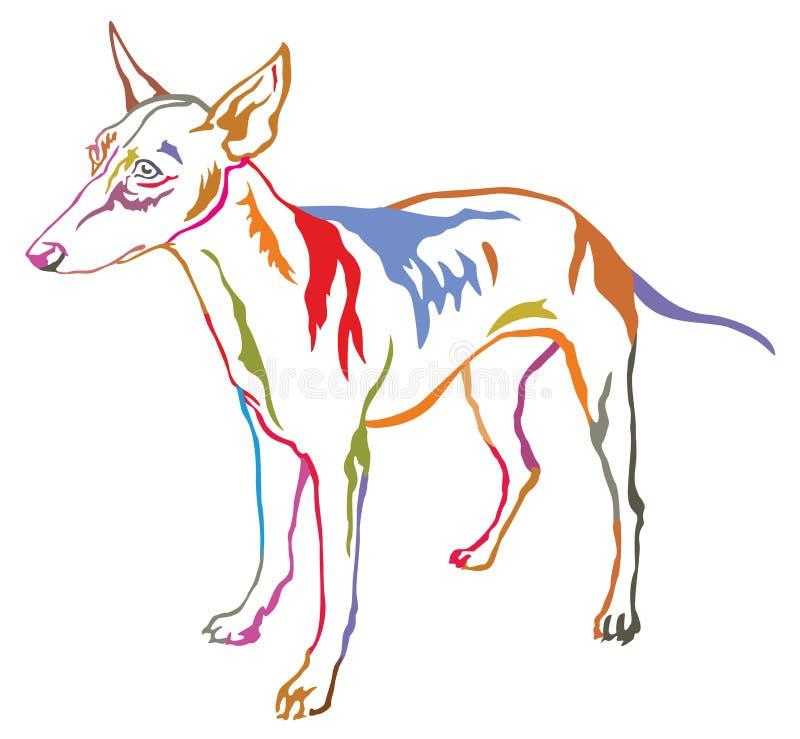 Retrato ereto decorativo colorido do cão ilustração stock