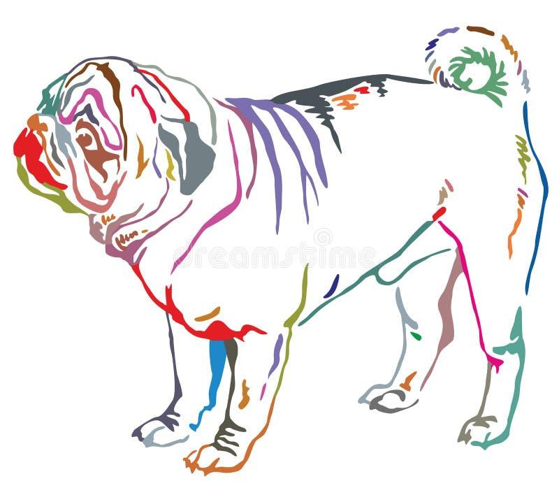 Retrato ereto decorativo colorido do illustra do vetor do pug do cão ilustração stock