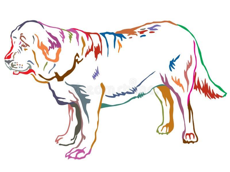 Retrato ereto decorativo colorido do vec espanhol do mastim do cão ilustração stock