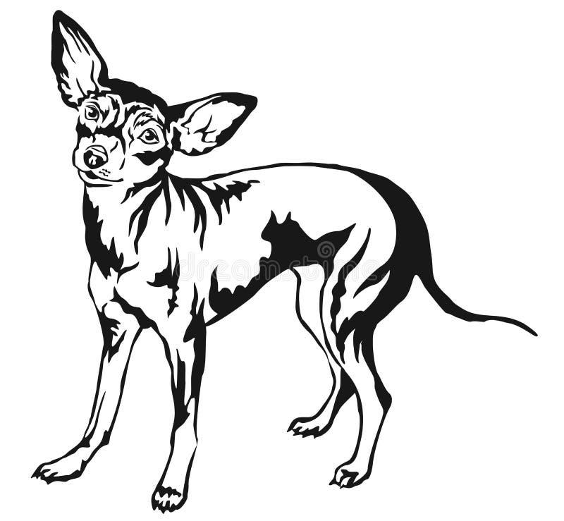 Retrato ereto decorativo do illustr do vetor do caçador de ratos de Praga do cão ilustração stock