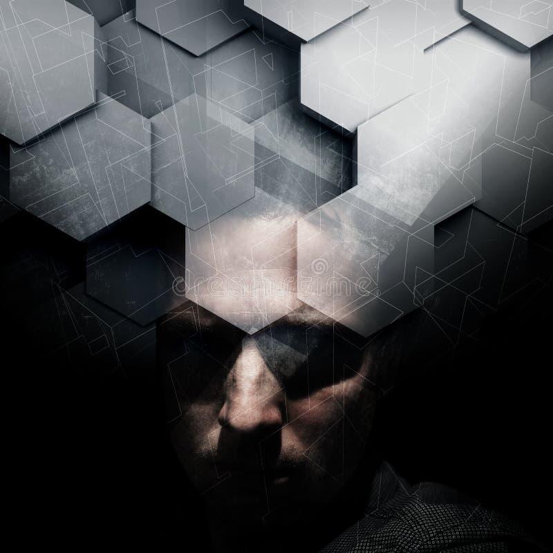 Retrato escuro do homem europeu novo com camada 3d ilustração stock