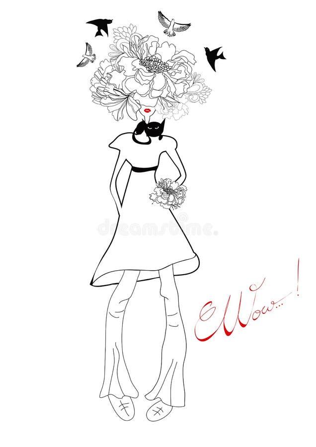 Retrato estilizado da rapariga ilustração royalty free