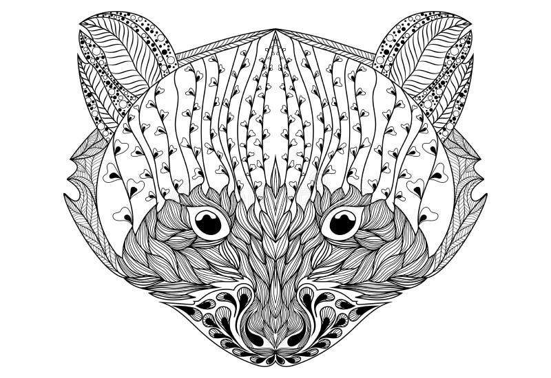 Retrato estilizado de um guaxinim Retrato decorativo de um urso A cabeça é uma panda pequena Rath linear Zentangle tattoo ilustração royalty free
