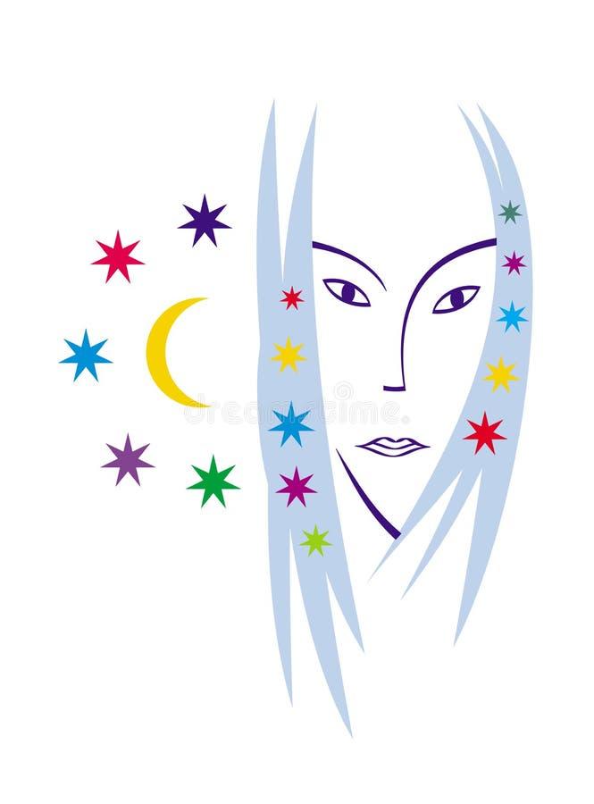 Retrato estilizado de uma mulher bonita Retrato do vetor Gráficos lacônicos da cor ilustração do vetor