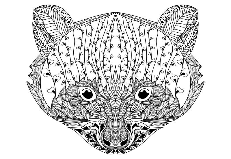Retrato estilizado de un mapache Retrato ornamental de un oso La cabeza es una pequeña panda Rath linear Zentangle tatuaje libre illustration