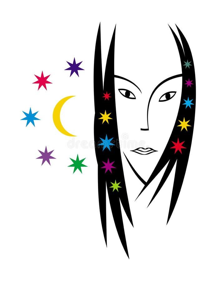 Retrato estilizado de una mujer hermosa Cuadro del vector Gráficos lacónicos del color stock de ilustración