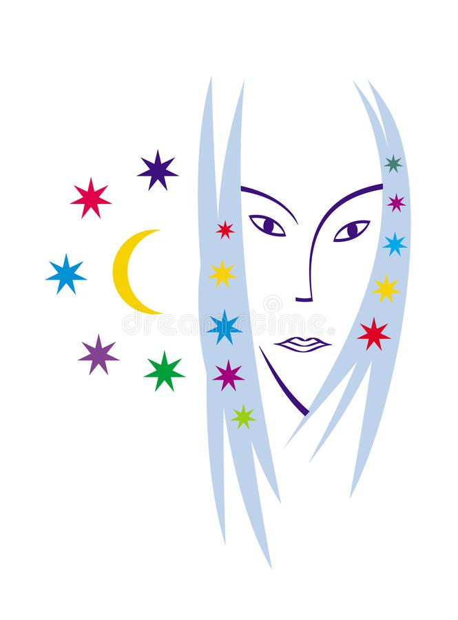 Retrato estilizado de una mujer hermosa Cuadro del vector Gráficos lacónicos del color ilustración del vector