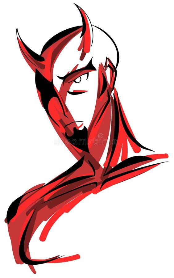 Retrato estilizado del diablo stock de ilustración