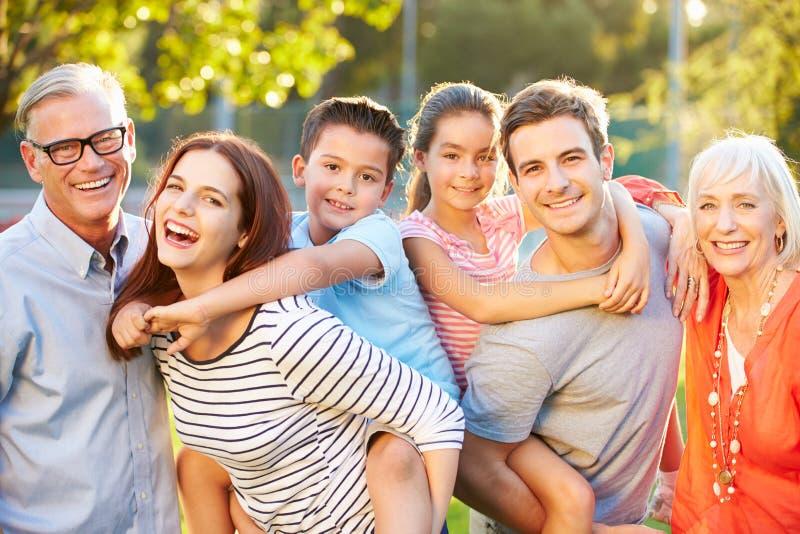 Retrato exterior da família da Multi-geração no parque imagem de stock