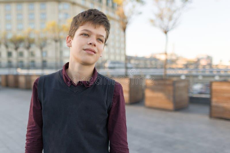 Retrato exterior do menino de sorriso 14 do adolescente, 15 anos velhos fotos de stock royalty free