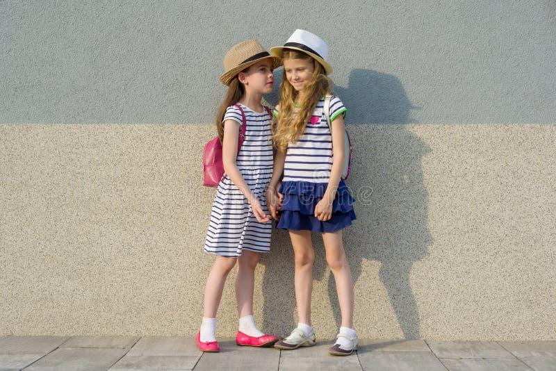 Retrato exterior do verão de duas namoradas felizes 7,8 anos no perfil que fala e que ri Meninas nos vestidos listrados, chapéus  fotografia de stock royalty free