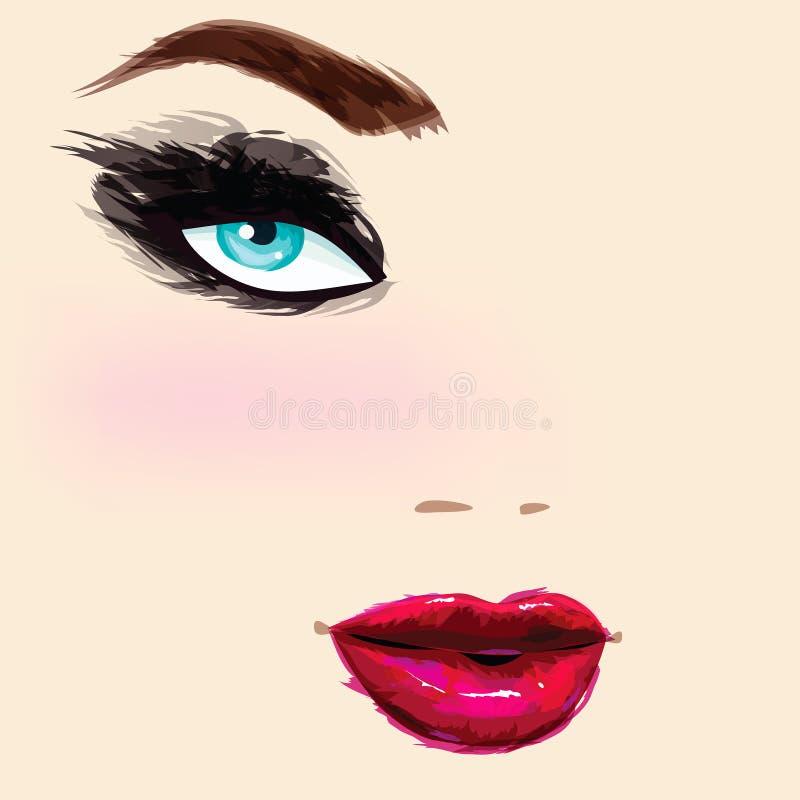 Retrato fêmea bonito ilustração royalty free