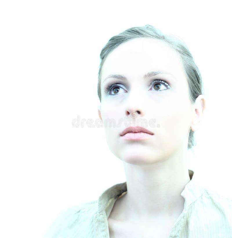 Retrato fêmea chave elevado foto de stock royalty free