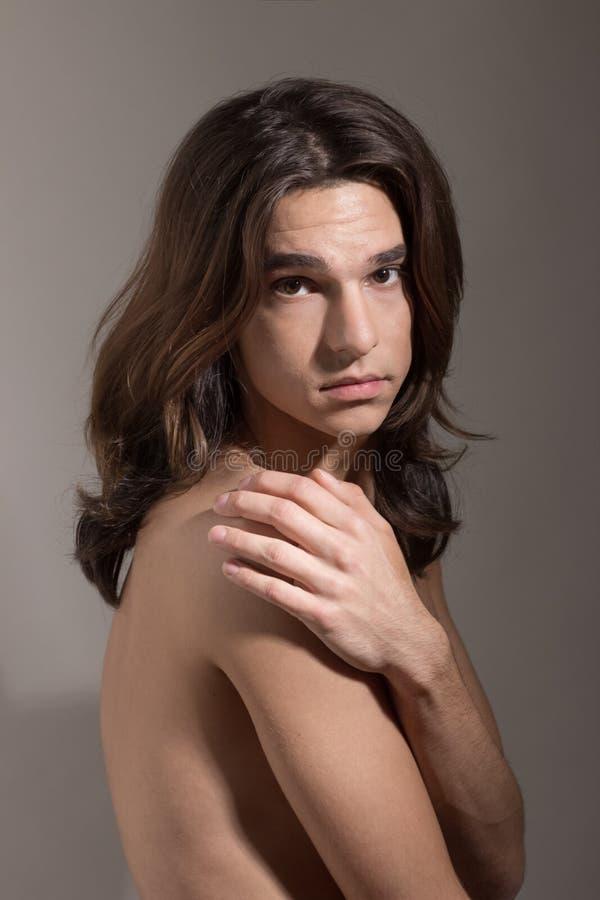 Retrato fêmea masculino do transsexual do transgender da mulher do homem foto de stock